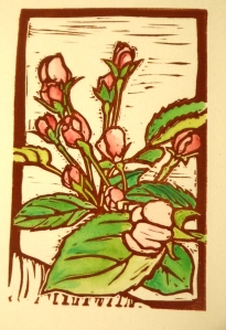 Apple Blossoms, hand colored block print