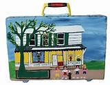American Folk Artist Sam McMillan's Hand Painted  Briefcase
