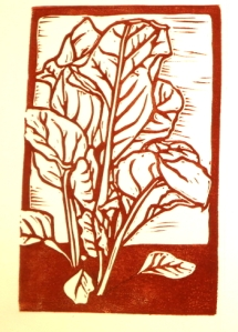 Swiss Chard block print before adding color