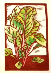 Swiss Chard block print with color