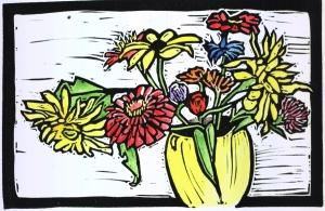 Spirit Guardians, block print with watercolor