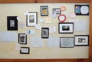 Final student work displayed on the bulletin board